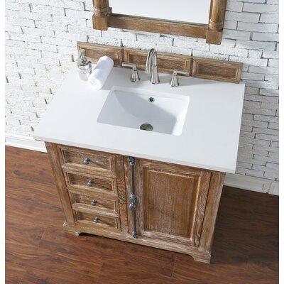 Belhaven 36 Single Driftwood Bathroom Vanity Set Top Finish: Snow White Quartz, Top Thickness: 3cm