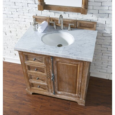 Belhaven 36 Single Driftwood Bathroom Vanity Set Top Finish: Carrara White Marble, Top Thickness: 4cm