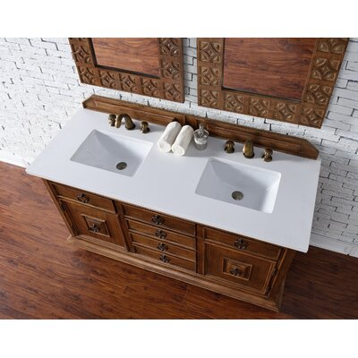 Frye 60 Double Cinnamon Free-standing Bathroom Vanity Set Top Finish: Snow White Quartz