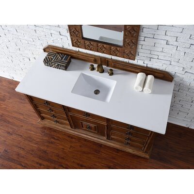 Frye 60 Single Rectangle Cinnamon Bathroom Vanity Set Top Finish: Snow White Quartz