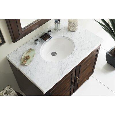 Musson 36 Single Bathroom Vanity Set Base Finish: Burnished Mahogany, Top Finish: Carrara White Marble, Top Thickness: 4cm