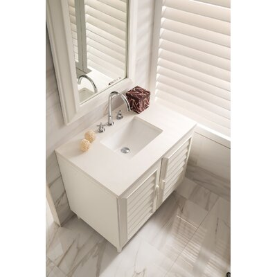 Musson 36 Single Bathroom Vanity Set Base Finish: Cottage White, Top Finish: Snow White Quartz, Top Thickness: 3cm