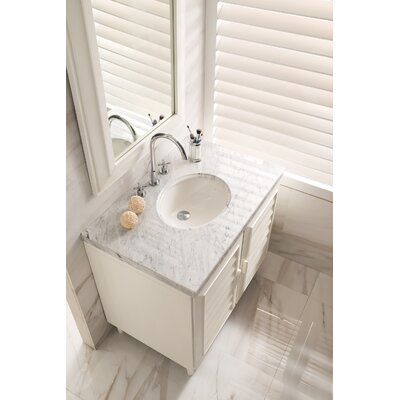 Musson 36 Single Bathroom Vanity Set Base Finish: Cottage White, Top Finish: Carrara White Marble, Top Thickness: 4cm