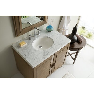 Musson 36 Single Bathroom Vanity Set Base Finish: White Washed Walnut, Top Finish: Carrara White Marble, Top Thickness: 4cm