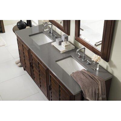 Musson 72 Double Bathroom Vanity Set Base Finish: Burnished Mahogany, Top Finish: Shadow Gray Quartz, Top Thickness: 3cm