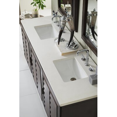 Musson 72 Double Bathroom Vanity Set Base Finish: Burnished Mahogany, Top Finish: Snow White Quartz, Top Thickness: 3cm