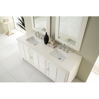 Musson 72 Double Bathroom Vanity Set Base Finish: Cottage White, Top Finish: Snow White Quartz, Top Thickness: 3cm