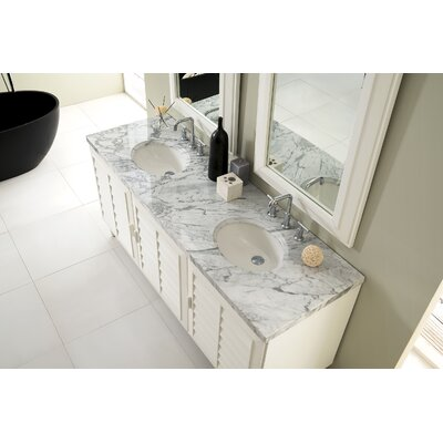 Musson 72 Double Bathroom Vanity Set Base Finish: Cottage White, Top Finish: Carrara White Marble, Top Thickness: 4cm