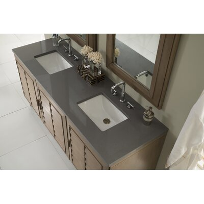 Musson 72 Double Bathroom Vanity Set Base Finish: White Washed Walnut, Top Finish: Shadow Gray Quartz, Top Thickness: 3cm