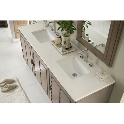 Musson 72 Double Bathroom Vanity Set Base Finish: White Washed Walnut, Top Finish: Snow White Quartz, Top Thickness: 3cm