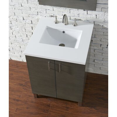 Cordie 24 Single American Walnut Bathroom Vanity Set Base Finish: Silver Oak, Top Finish: Snow White Quartz