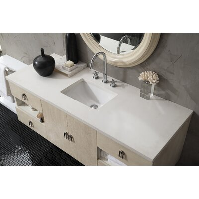Hobbs 60 Single Bathroom Vanity Set Base Finish: Vanilla Oak, Top Finish: Snow White Quartz, Top Thickness: 3cm