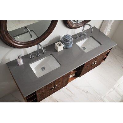 Hobbs 72 Double Bathroom Vanity Set Base Finish: Coffee Oak, Top Finish: Shadow Gray Quartz, Top Thickness: 3cm