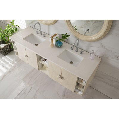 Hobbs 72 Double Bathroom Vanity Set Base Finish: Vanilla Oak, Top Finish: Snow White Quartz, Top Thickness: 3cm