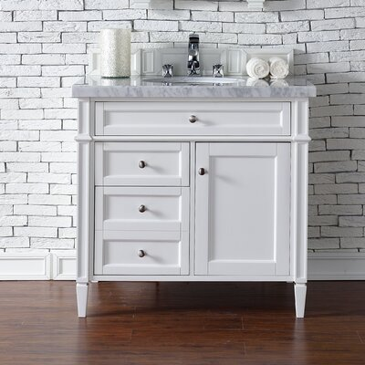 Deleon Traditional 36 Single Burnished Mahogany Bathroom Vanity Set Base Finish: Cottage White