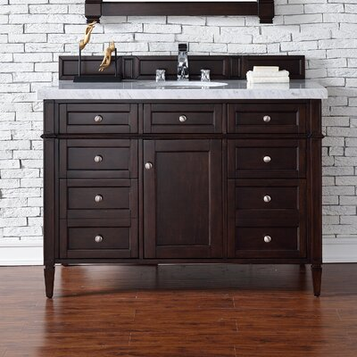 Deleon 48 Single Burnished Mahogany Stone Top Bathroom Vanity Set Base Finish: Burnished Mahogany