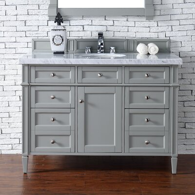 Deleon 48 Single Burnished Mahogany Stone Top Bathroom Vanity Set Base Finish: Urban Gray
