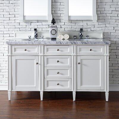 Deleon 60 Double Burnished Mahogany Bathroom Vanity Set Base Finish: Cottage White