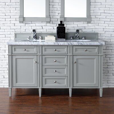 Deleon 60 Double Burnished Mahogany Bathroom Vanity Set Base Finish: Urban Gray