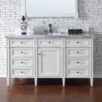 Deleon Traditional 60 Single Burnished Mahogany Bathroom Vanity Set Base Finish: Cottage White