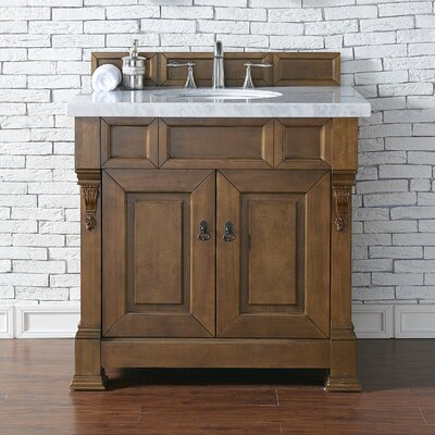 Bedrock 36 Single Antique Black Bathroom Vanity Set Base Finish: Country Oak, Top Finish: Galala Beige Marble, Top Thickness: 4cm