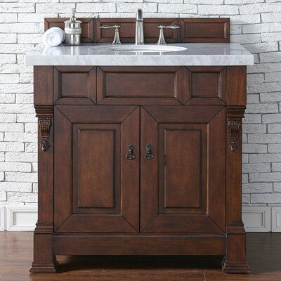Bedrock 36 Single Antique Black Bathroom Vanity Set Base Finish: Burnished Mahogany, Top Finish: Galala Beige Marble, Top Thickness: 4cm