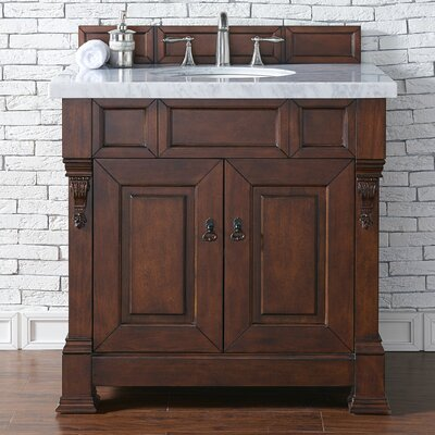 Bedrock 36 Single Antique Black Bathroom Vanity Set Base Finish: Warm Cherry, Top Finish: Galala Beige Marble, Top Thickness: 4cm
