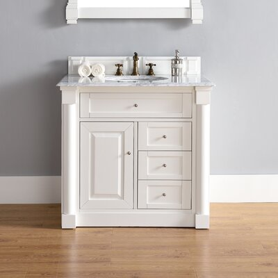 Maurice 36 Single Burnished Mahogany Bathroom Vanity Set Base Finish: Cottage White, Top Finish: Arctic Fall Solid Surface, Top Thickness: 3cm