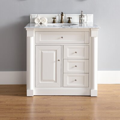 Maurice 36 Single Burnished Mahogany Bathroom Vanity Set Base Finish: Cottage White, Top Finish: Snow White Quartz, Top Thickness: 3cm