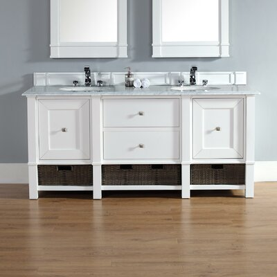 Westminster 72 Double Cottage White Bathroom Vanity Set Top Finish: Snow White Quartz, Top Thickness: 3cm