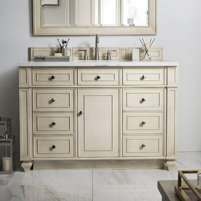 Torrey 48 Single Bathroom Vanity Set Base Finish: White Washed Walnut, Top Finish: Santa Cecilia Granite, Top Thickness: 4cm
