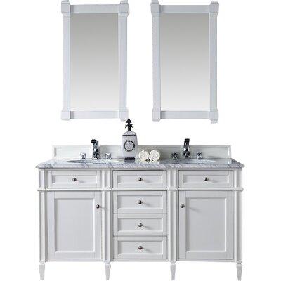 Brittany 60 Double Bathroom Vanity Base Finish: Cottage White