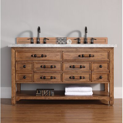 Montebello 60 Double Honey Alder Bathroom Vanity Set Top Finish: Carrera White Marble Top