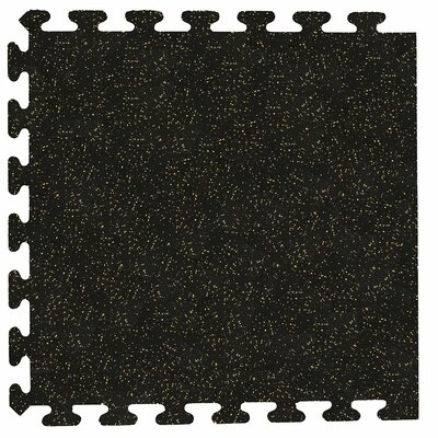 iFlex Interlocking Fitness Recycled Rubber Tiles Color: Black with Tan