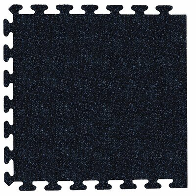 iFlex Interlocking Fitness Recycled Rubber Tiles Color: Black with Blue