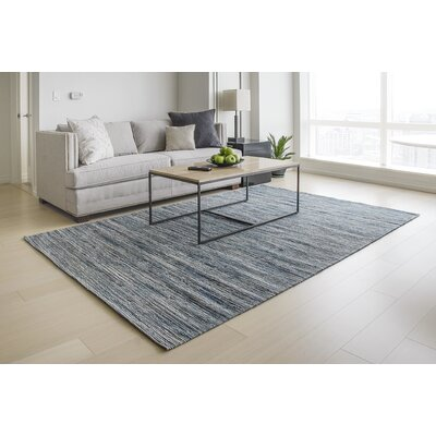 Sari Silk and Jute Hand Woven Gray/Light Blue Area Rug Rug Size: 6 x 9