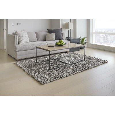 Wool Felt Hand-Tufted Gray/White Area Rug Rug Size: Rectangle 5' x 7'
