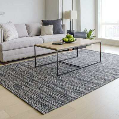Sari Silk and Hemp Dark Gray Area Rug Rug Size: Rectangle 4 x 6
