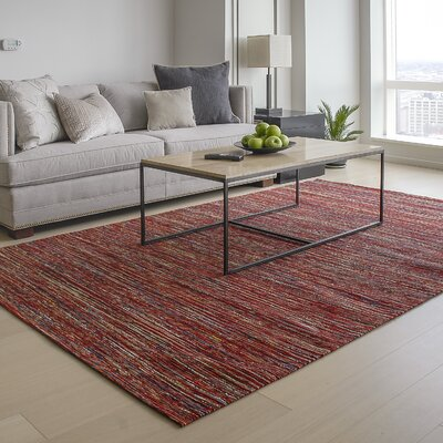 Sari Silk and Jute Hand Woven Red Area Rug Rug Size: 6 x 9