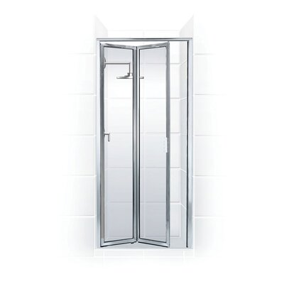 """Coastal Industries Paragon Double Hinge Bifold Shower Door - Frame Finish: Brite Silver (Chrome), Opening Width: 66"""" x 20"""", Glass ..."""