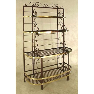 French Bakers Rack Brass Tips: With Brass Tips, Finish: Ivory