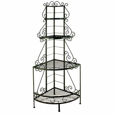 French Corner Bakers Rack Brass Tips: With Brass Trim and Brass Tips, Finish: Stone