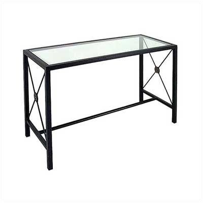 Large Console Table Base Finish: Satin Black, Side Panel: French Traditional