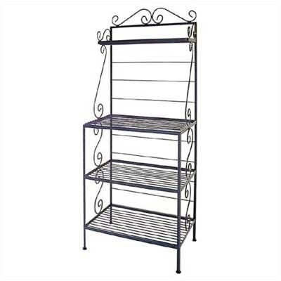 Microwave Bakers Rack Finish: Aged Iron, Brass Tips: With Brass Tips