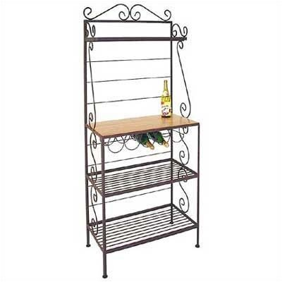 Gourmet Bakers Rack Brass Tips: With Brass Tips, Finish: Stone