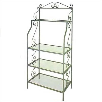 Bakers Rack Option: Glass Shelves and Brass Tips, Metal Finish: Jade Teal