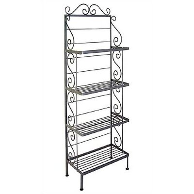 Bakers Rack Finish: Aged Iron, Brass Tips: Without Brass Tips, Size: 24 W x 13 D