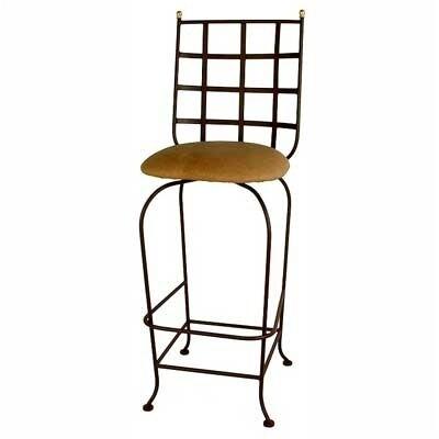 Grace Westminster Bar Stool - Base Finish: Aged Iron, Upholstery: Nutmeg