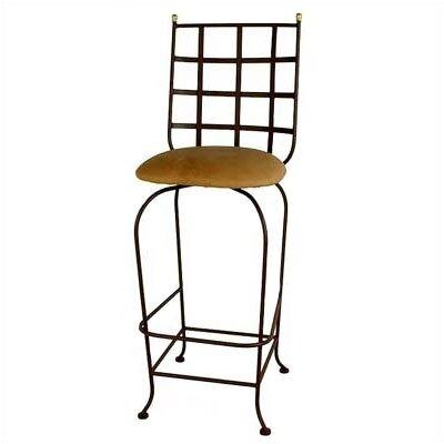Grace Westminster Swivel Bar Stool - Base Finish: Aged Iron, Upholstery: Nutmeg