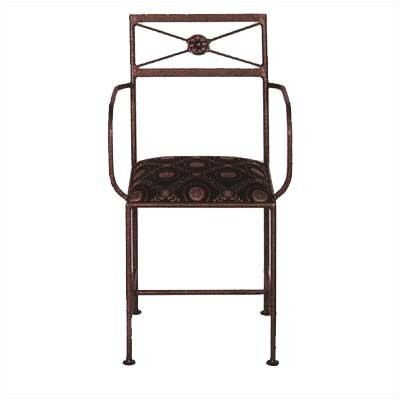Grace Neoclassic Dining Arm Chair with Cushion - Metal Finish: Burnished Copper Fabric: Sea Spray